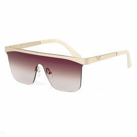 Sunglasses Ms. 1107 Fashion Big Frame Siamese Sunglasses Ocean Sunglasses Women Europe and America Street Shooting