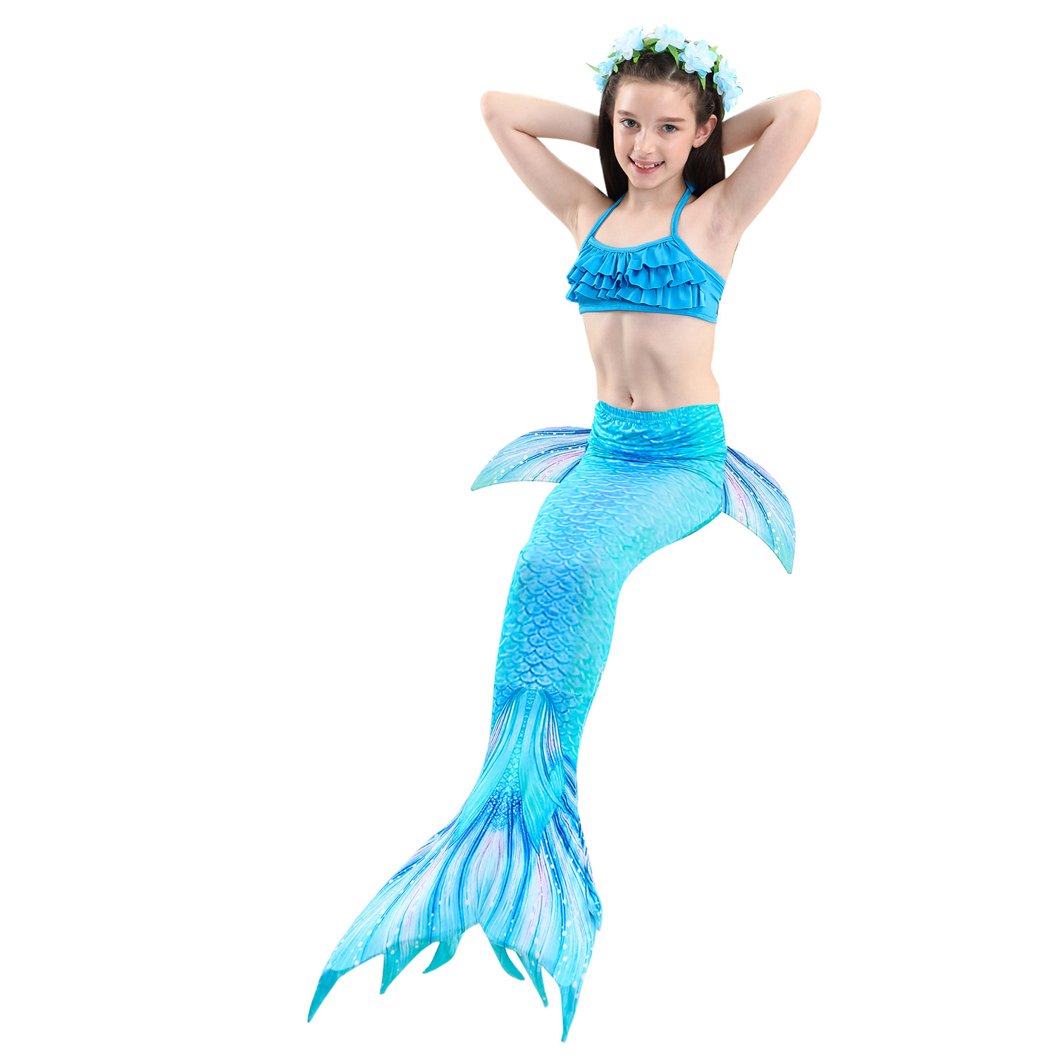 9314611109 898390851 - 4PCS/Set HOT Kids Girls Mermaid Tails with Fin Swimsuit Bikini Bathing Suit Dress for Girls With Flipper Monofin For Swim