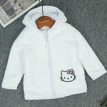 出口外贸日韩原单粉白珊瑚绒KT猫拉链开衫中小女童纯棉上衣外套