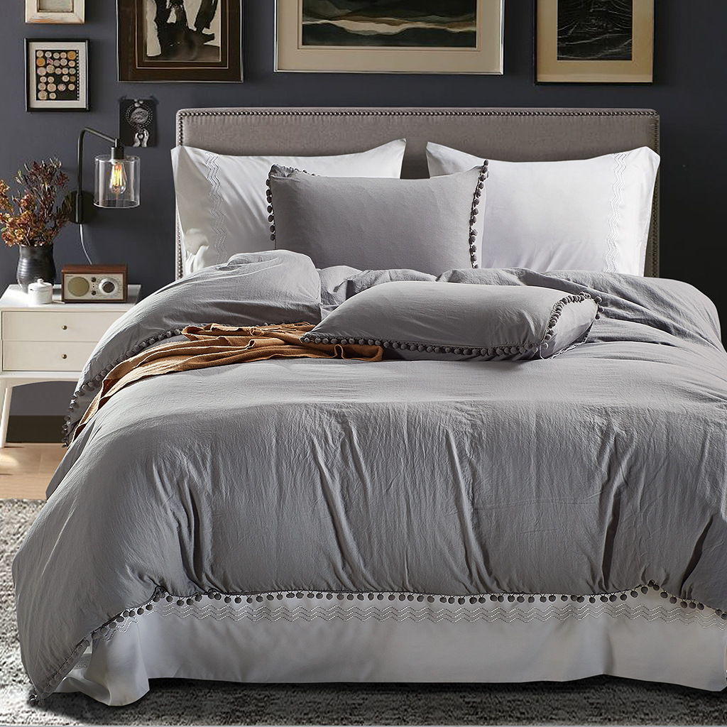 American size wash ball three-piece solid color comfortable quilt cover home textile three-piece NHSP174168