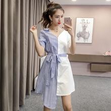 实拍2019夏装女装新款中长款时尚拼接条纹不规则衬衫裙连衣裙潮