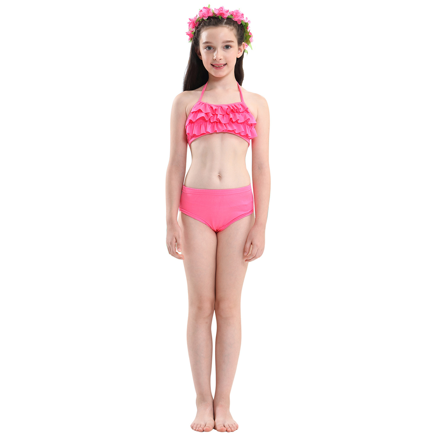 9282523209 898390851 - 4PCS/Set HOT Kids Girls Mermaid Tails with Fin Swimsuit Bikini Bathing Suit Dress for Girls With Flipper Monofin For Swim