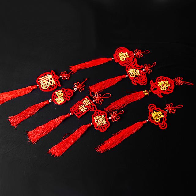 新年小灯笼挂件福字喜字吊饰毛毡挂饰流苏中国结春节用品婚房挂饰