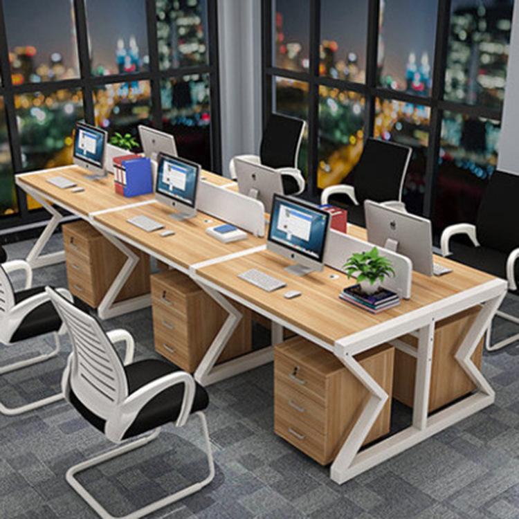 职员办公桌四人位员工电脑桌椅组合2/4/6人位屏风办公家具卡位