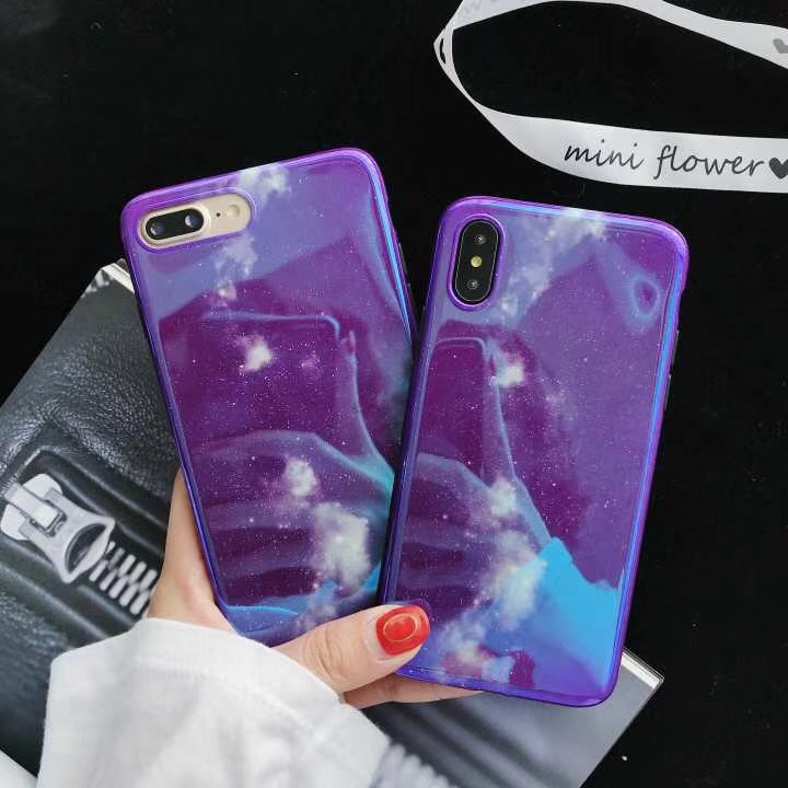 Japan and South Korea Fashion Purple Star Original Laser iPhoneX 8plus Blu-ray Apple 6S 7 Mobile Shell Soft Case