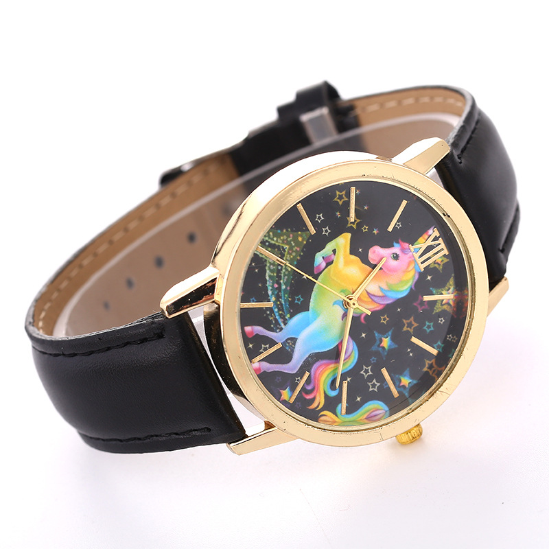 Fashion gold shell casual ladies belt quartz colorful five-pointed star horse unicorn pattern watch wholesale NHSS251027