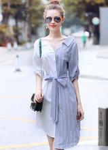 夏装女装新款 时尚拼接条纹不规则衬衫裙连衣裙
