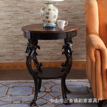 美式乡村圆边几沙发边柜角几彩绘做旧小茶桌欧式田园咖啡桌