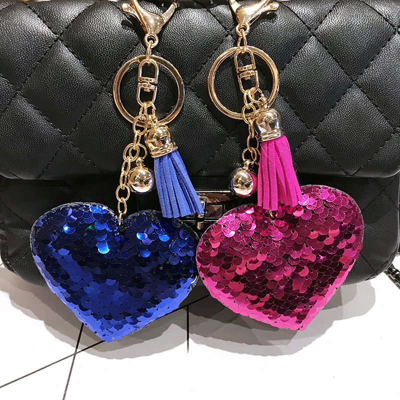 Reflective Shiny Peach Heart Keychain Pendant Bag Pendant Colorful Sequin Love Keychain NHCB186906