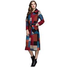 新款大码格子超长款羊毛呢大衣宽松单排扣高端秋冬女外套