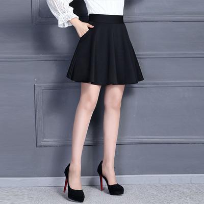 春季短裙伞裙半身裙女秋冬A字裙大码外穿半裙百褶蓬蓬裙子裙裤