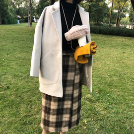 With the flow of autumn and winter new long paragraph lap collar loose one button woolen coat coat women's 8624