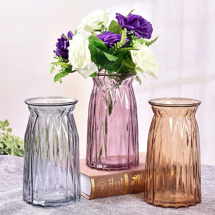 欧式简约竖棱玻璃花瓶透明水培花器折纸插花瓶客厅家居装饰摆件