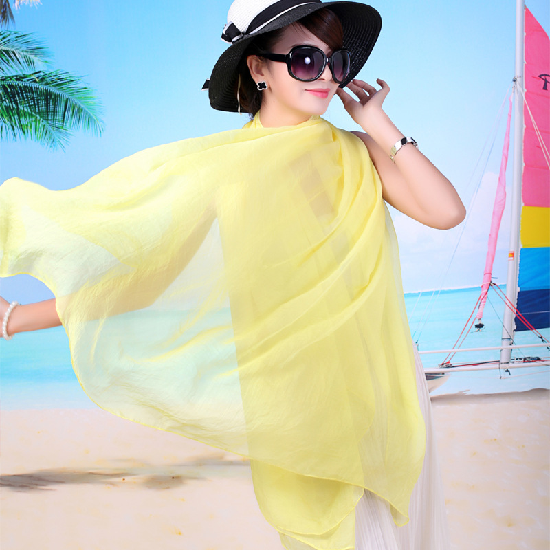 夏季纯色雪纺丝巾百搭多功能防晒披肩沙滩巾跳舞红色丝巾纱巾批发