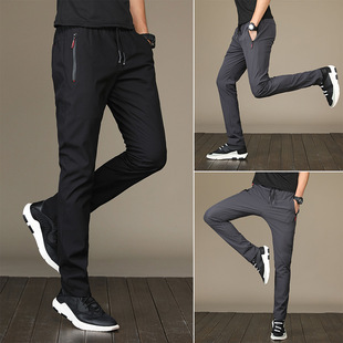 Casual pants stretch black youth trousers quick-drying self-cultivation pants men's self-cultivation solid color pants