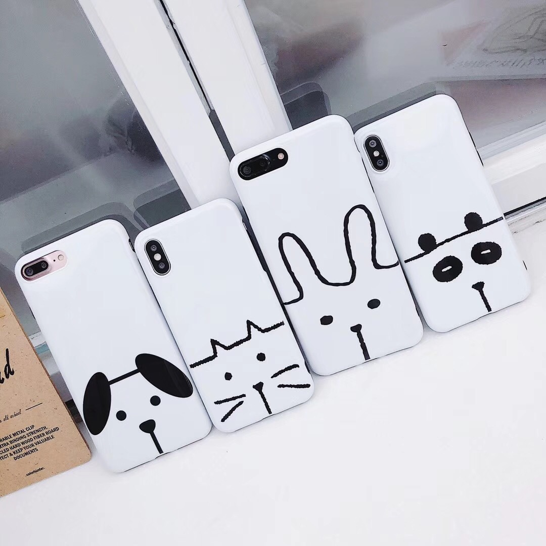Cute hand-drawn cartoon puppy rabbit cat mobile phone shell for iphone7plus/6s/7 creative personality tide female