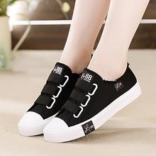 2020夏季新款黑色帆布鞋女鞋平底中小学生板鞋魔术贴球鞋透气单鞋