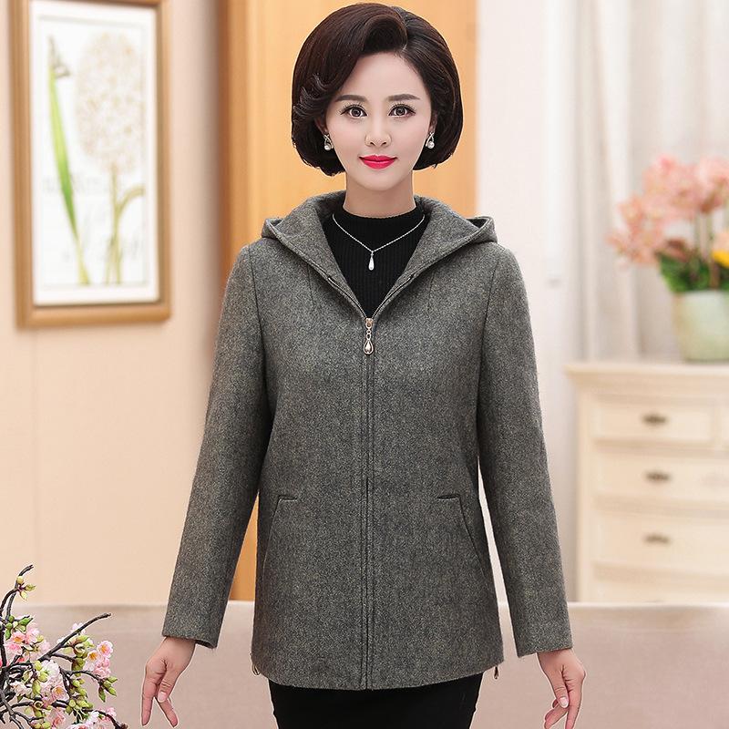 中年人妈妈装秋装外套女40-50岁2017春秋新款中老年女装毛呢外套