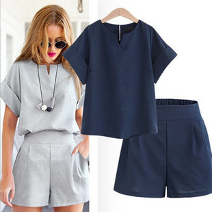 Spot! 2020 summer new style European and American style plus size women's fat MM short-sleeved top and shorts two-piece suit