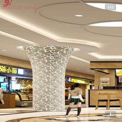 定制缕空雕刻包柱铝单板 圆柱 方柱仿木纹全铝板 装饰材料