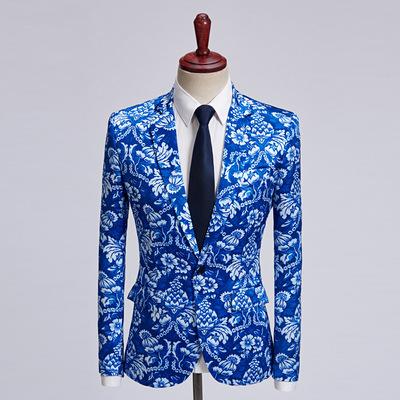 Men's jazz dance singers choir stage performance blazers blue Floral printed gown bridegroom photos shooting coat  model show Photo studio host hair stylist flower suit
