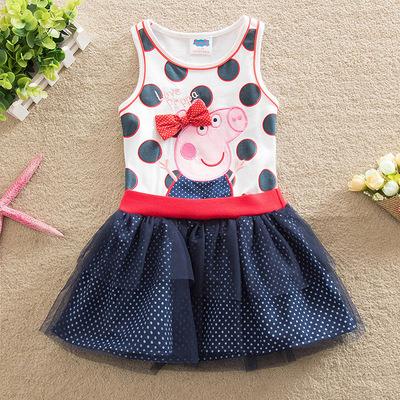 新款小猪外贸童装 欧美风纯棉童裙 佩佩猪女童连衣裙一件代发