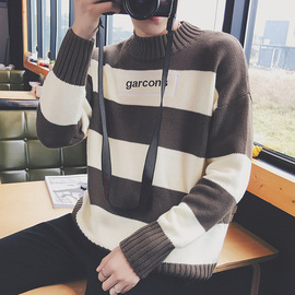 Autumn and winter new youth English embroidered striped pullover sweater round collar loose sweater man