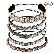 欧美纯手工串珠发饰水钻头箍套装发带手缝米珠头饰现货批发