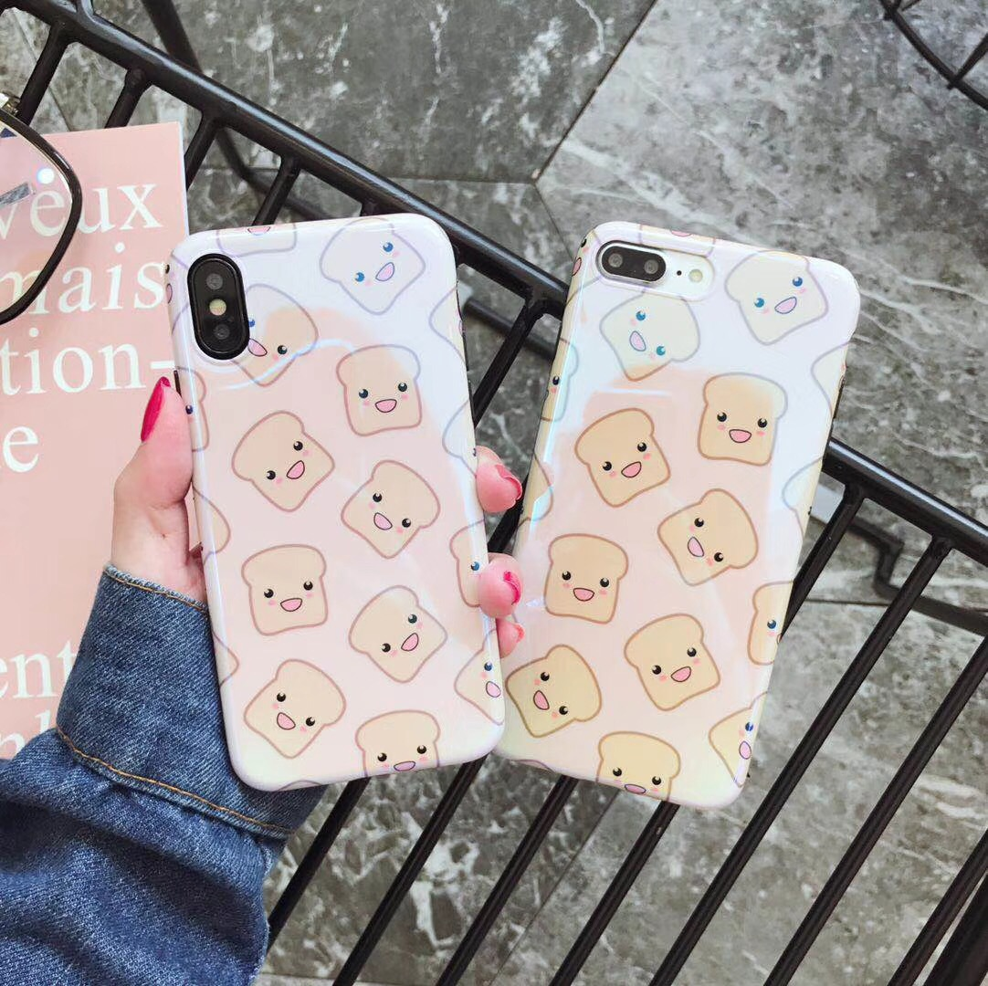 Cute Blu-ray bread silking mobile phone shell iphone7 plus lanyard apple 8X couple models all-inclusive soft shell 6s