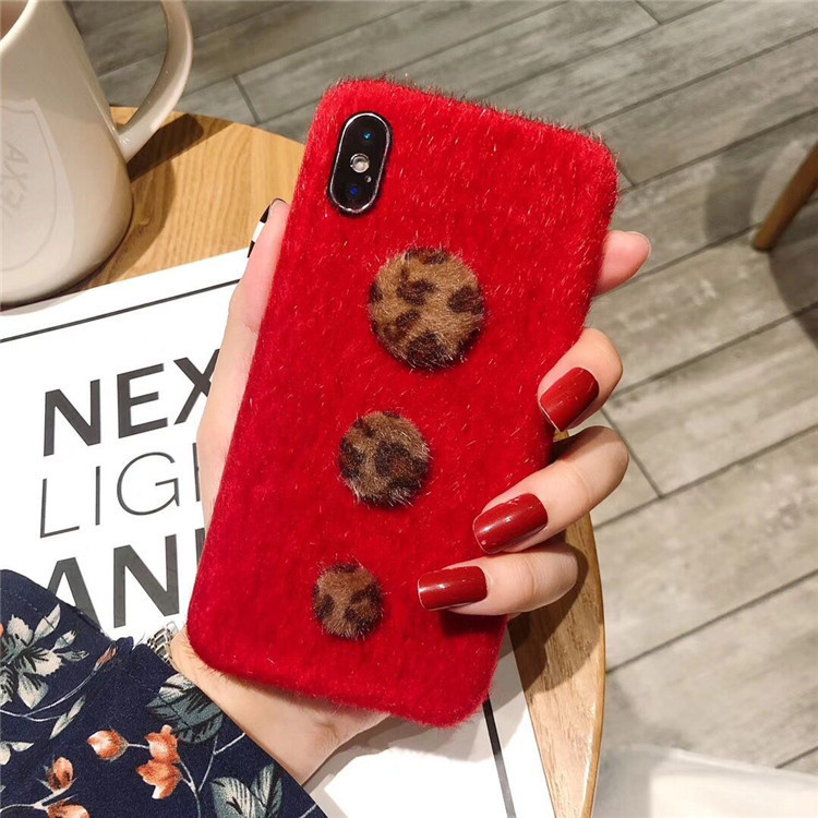 Europe and the United States simple for 6s XR Xs max small button fashion plush iphone7/6s plus leopard buckle