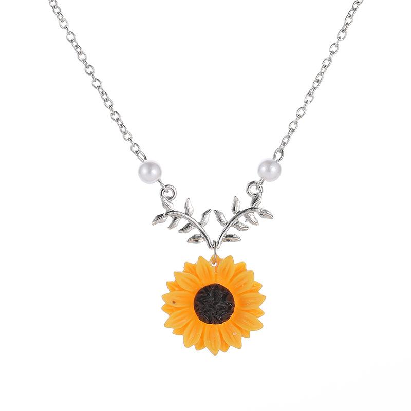 Collar de aleación de flor de girasol de dos perlas de moda NHCU152908