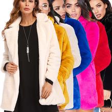 YM-8268 2018冬季亚马逊速卖通爆款欧美女装 宽松皮草绒毛外套