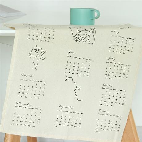 Chic lịch sáng tạo lịch bông Ins fan văn chương đơn giản trang trí lịch chụp ảnh vải nền