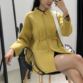 Autumn and winter new women's long-sleeved loose cardigan women's knitted double-faced woolen coat