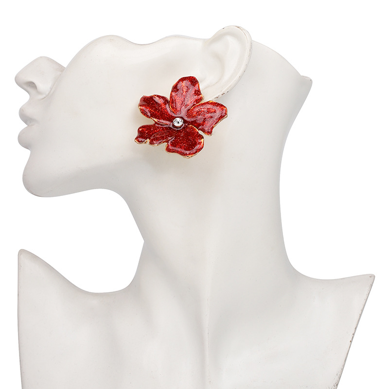 Alloy Fashion Flowers earring(red) NHJJ4656-red