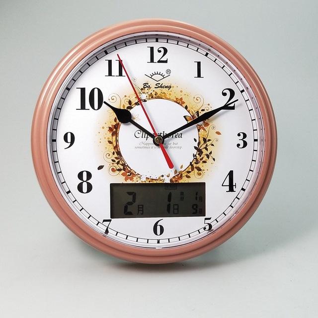 客厅挂钟石英钟表6寸 电子万年历立挂两用静音挂钟带农历显示1211