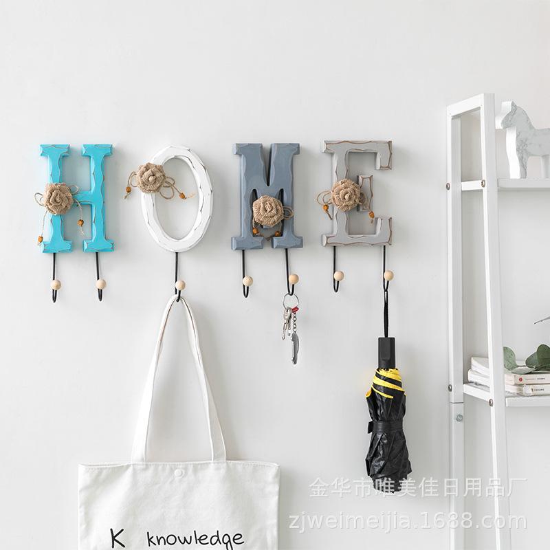创意ins北欧风木制卡通装饰挂钩客厅墙面衣架钥匙包包整理装饰架