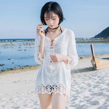 海滩休闲度假镂空花边系带套头七分袖套头性感外罩衫马代4834