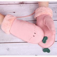 麂皮绒连指手套冬季女可爱韩版?#38556;?#23398;生挂脖加绒加厚保暖毛口手套
