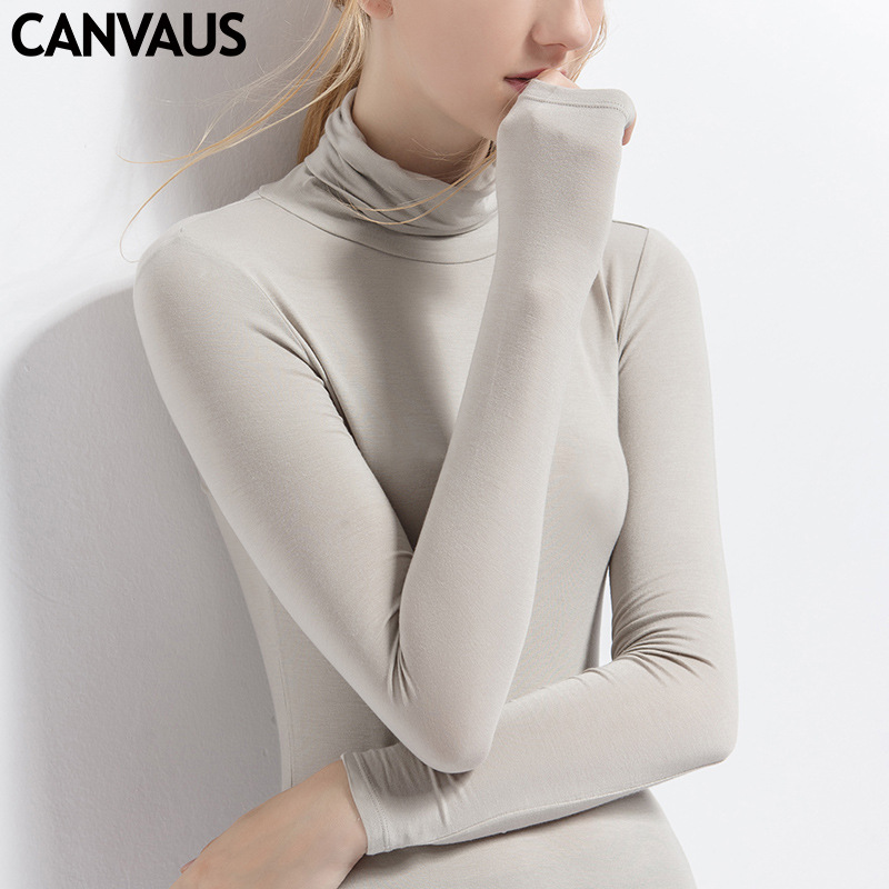 歐洲站女裝新款長袖T恤女純色高領莫代爾打底衫女秋上衣批發F325A