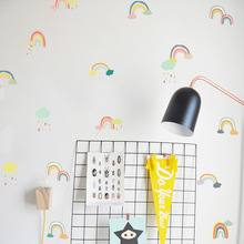 Funlife 小學幼兒園教室布置透明墻貼墻紙兒童房墻貼彩虹PA102
