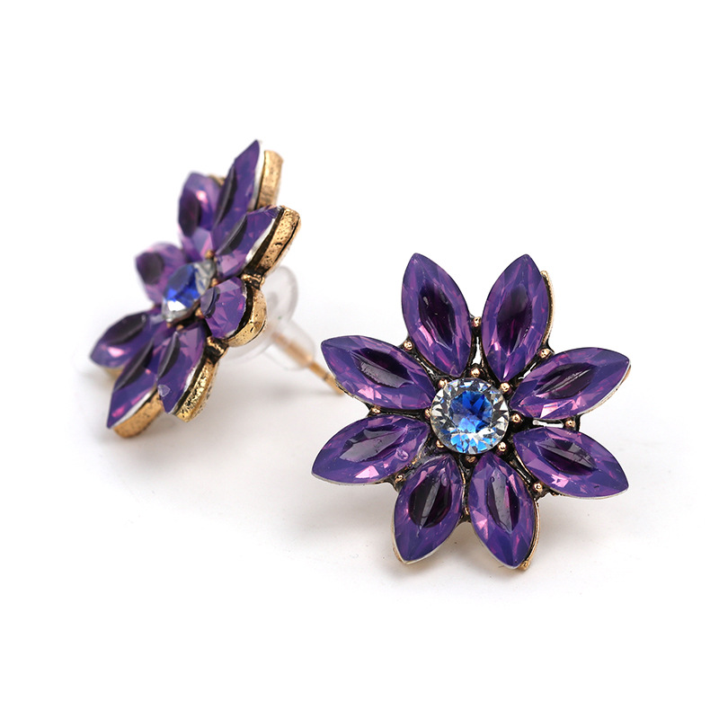 Korea Imitated crystalCZ earring Flowers NHJJ3944purple
