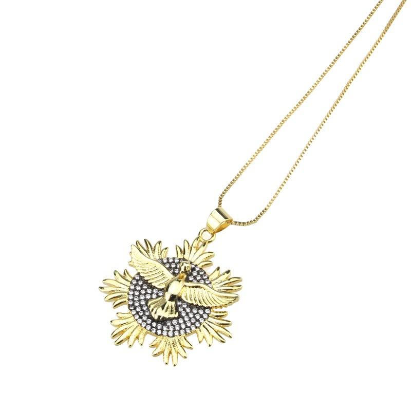 Copper Fashion Geometric necklace  Alloyplated white zirconium NHBP0215Alloyplatedwhitezircon