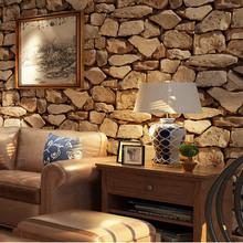 复古3D立体石头墙纸 仿真石纹石块咖啡店酒吧餐厅服装店PVC壁纸
