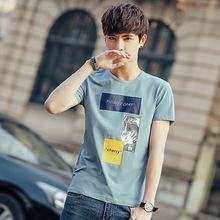 夏季新款男士短袖t恤2019韩版潮流修身半袖青年印花体恤男装衣服