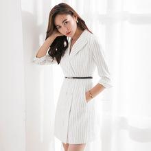 东洲雅莉2018夏装新款白领职场气质女装西装领职业装女条纹连衣裙