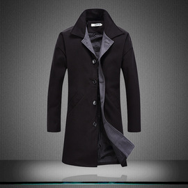 e-commerce platform  long section autumn and winter long section windbreaker jacket male youth thick woolen coat male