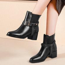 2018秋冬新款真皮大碼女靴粗跟中跟馬丁靴時尚圓頭歐美金屬扣短靴