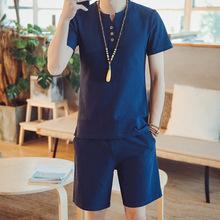 男士短袖男t恤2018新款潮流棉麻运动休闲套装上衣体恤两件套衣服