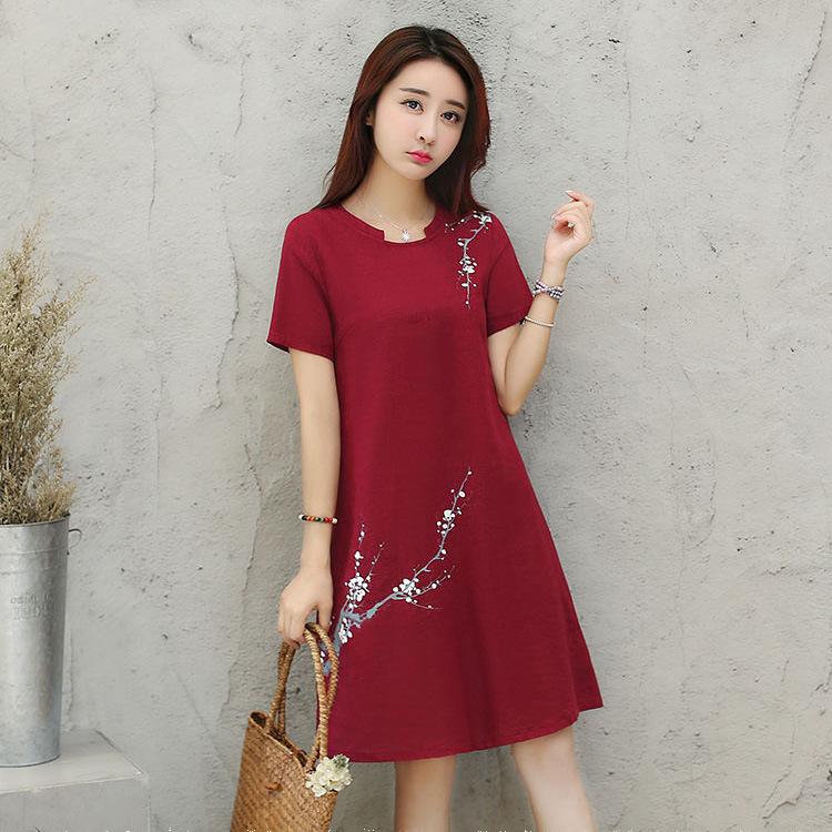 连衣裙女夏装2020新款韩版宽松时尚气质优雅短袖连衣裙中长款女潮